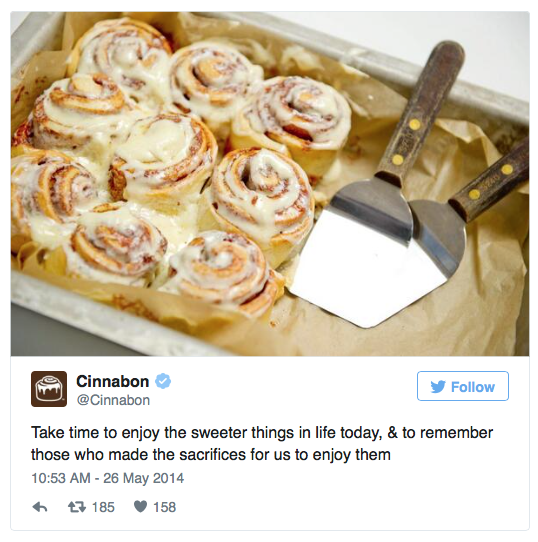 Cinnabon Memorial Day Social Media Fail