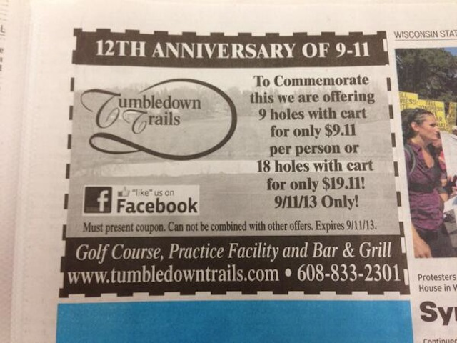 Golf Course Sept 11th Social Media Fail