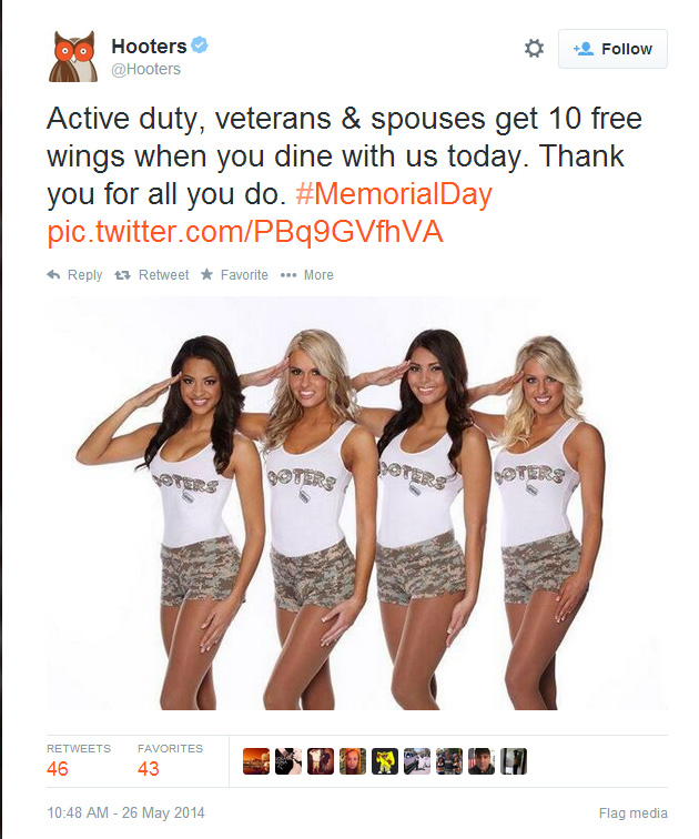Hooters Memorial Day Social Media Fail